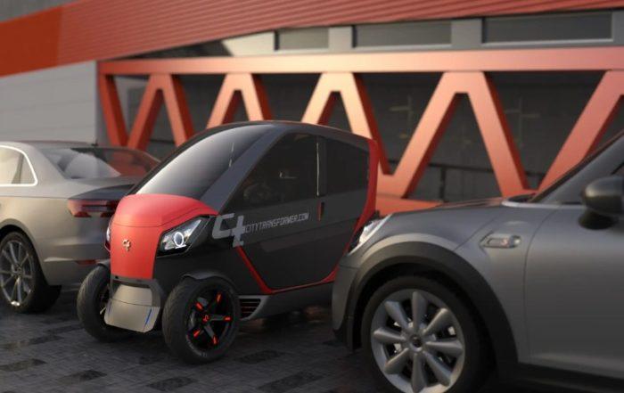 Складной электромобиль City Transformer с запасом хода 200 км/ч