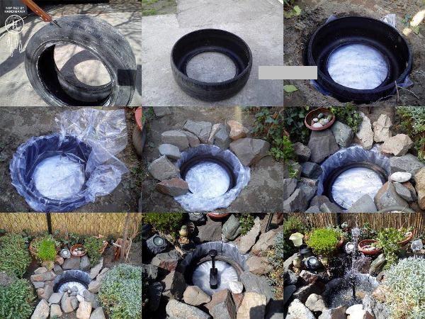 Процесс создания бассейна из покрышки