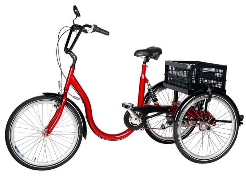 Взрослый трехколесный велосипед с особенно низкой рамой